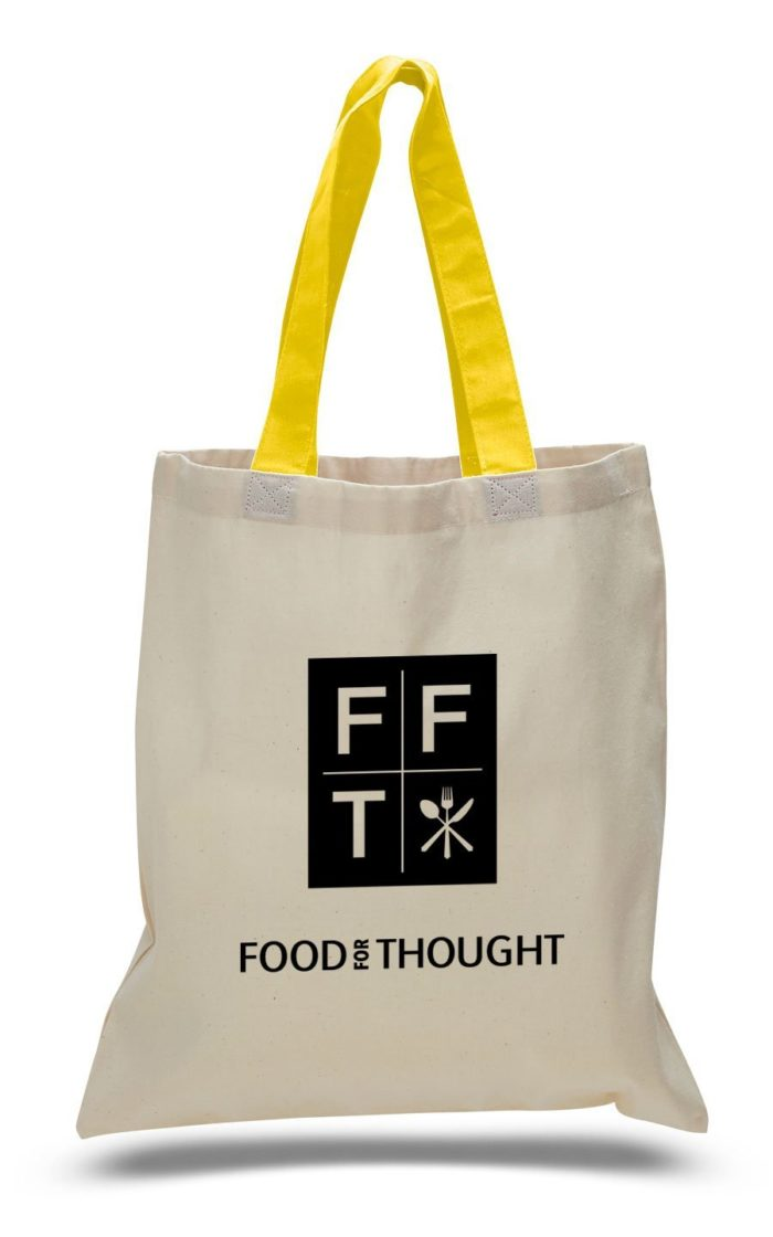 Economical Tote Bag with Natural Body and Colored Handles